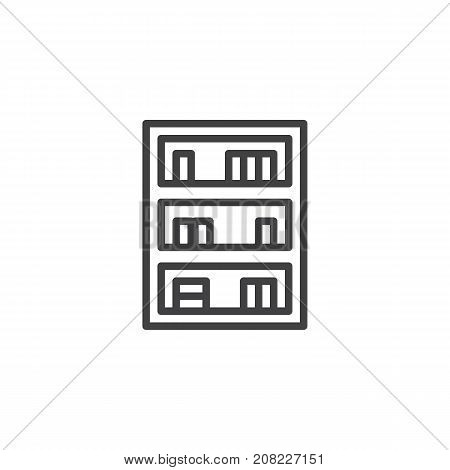 Bookcase household furniture line icon, outline vector sign, linear style pictogram isolated on white. Symbol, logo illustration. Editable stroke