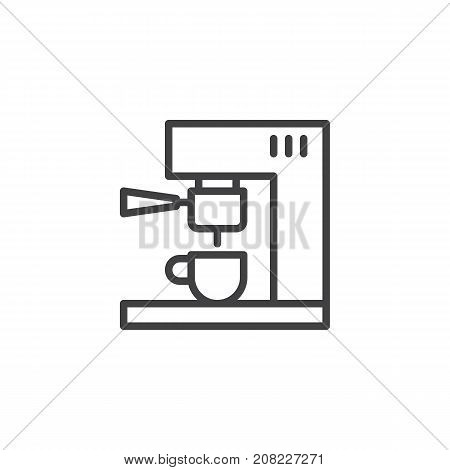 Coffee machine line icon, outline vector sign, linear style pictogram isolated on white. Symbol, logo illustration. Editable stroke
