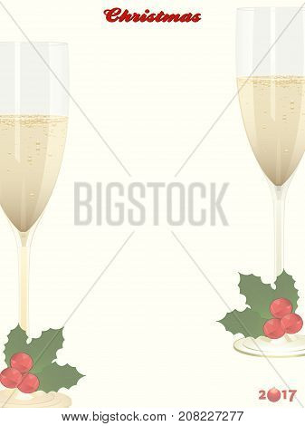 Christmas Portrait Copy Space Background with Decorative Text Champagne Glasses and Holly