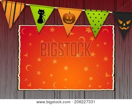 Halloween Copy Space Area with Stars and Moon Over Wooden Background with Bunting