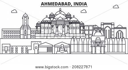 Ahmedabad, India architecture line skyline illustration. Linear vector cityscape with famous landmarks, city sights, design icons. Editable strokes