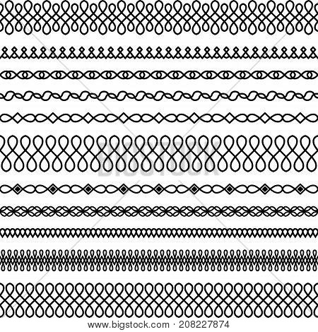 Vector set of wide and narrow brushes in a linear style with a round interlacing and drop elements to create frames borders and boarders decorations textiles cards invitations