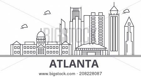 Atlanta architecture line skyline illustration. Linear vector cityscape with famous landmarks, city sights, design icons. Editable strokes