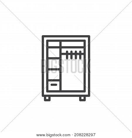 Closet line icon, outline vector sign, linear style pictogram isolated on white. Wardrobe symbol, logo illustration. Editable stroke