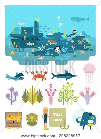 Life below water illustrated scene set with anchor, crab, jellyfish, octopus, scuba diver, sea horse, shark, ship wreck, snail, starfish, submarine, swordfish, text field, treasure chest, turtle,  watercourse and whale.