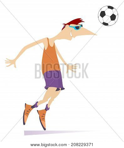 Smiling young man playing football isolated. Cartoon football player beats a football by head
