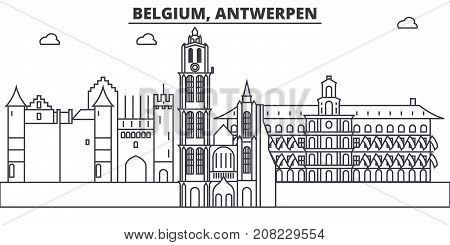 Belgium, Antwerpen architecture line skyline illustration. Linear vector cityscape with famous landmarks, city sights, design icons. Editable strokes