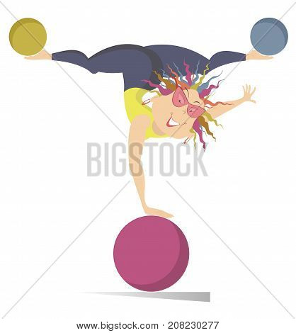Smiling young woman does exercises with the balls isolated. Funny young woman one hand standing on the ball and holds others on the legs