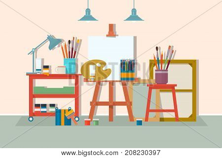 Art drawing design studio furniture. .Creative workshop room with canvas paints brushes easel and pictures. Design salon for artists. Flat style vector isolated illustration.