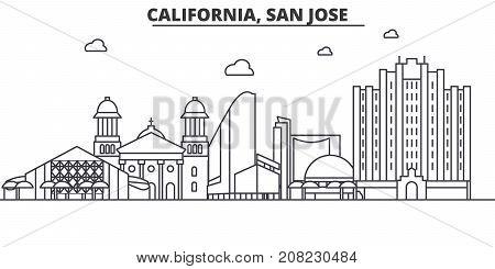 California San Jose architecture line skyline illustration. Linear vector cityscape with famous landmarks, city sights, design icons. Editable strokes