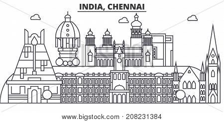 Chennai, India architecture line skyline illustration. Linear vector cityscape with famous landmarks, city sights, design icons. Editable strokes