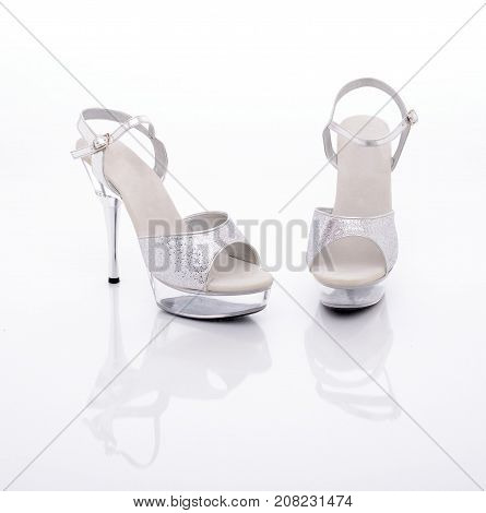 b84c1515d89 silver High heels stripper shoes on a white background