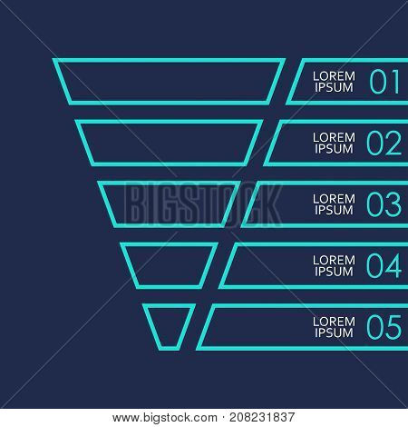 Funnel symbol template. Infographics design element with 5 steps options or levels. Vector illustration.