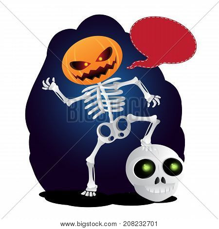 Happy Cartoon Skeleton With Pumpkin Instead Of His Head And Speach Bubble