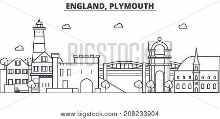 England, Plymouth architecture line skyline illustration. Linear vector cityscape with famous landmarks, city sights, design icons. Editable strokes