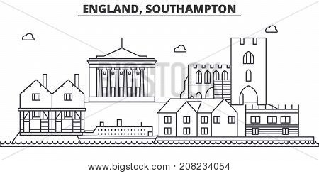 England, Southampton architecture line skyline illustration. Linear vector cityscape with famous landmarks, city sights, design icons. Editable strokes