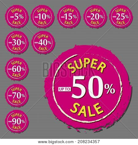 Colored discount percentage label set. Super sale stamp. Special offer sticker. Discount tag. Vector isolated object.
