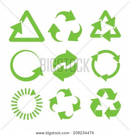 Green recycle icons set. Eco cycle arrows - vector