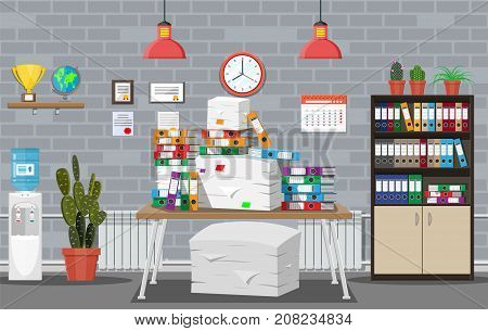 Pile of paper documents and file folders on table. Office building interior. Pile of papers. Office documents heap. Routine, bureaucracy, big data, paperwork, office. Vector illustration in flat style