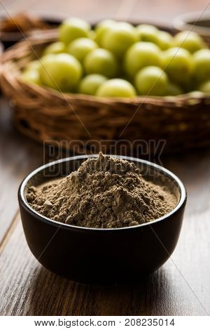 Stock photo of Amla/Avla/Aavla and it's by product cpowder or churan or churna