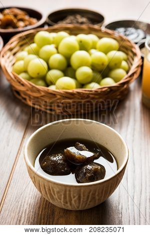 Stock photo of juicy Amla/Avla/Aavla called murabba, muramba or jelly, selective focus