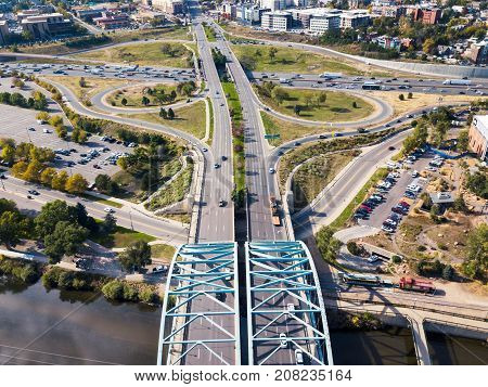 Arch Bridge On Speer Boulevard In Denver Aerial
