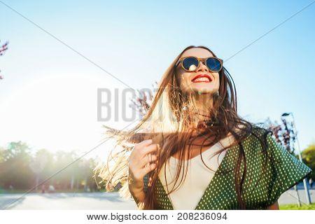 Happy smiling shine young girl, joy,enjoy life, freedom summer shine concept