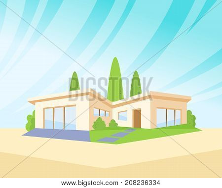 Flat Style Modern Architecture House with Green Lawn and Trees. Beautiful Landscape Vector Drawing Illustration.