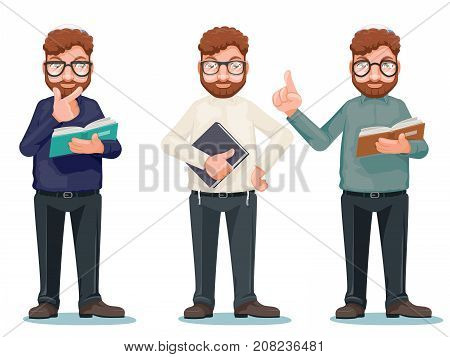 Professor intellectual rationalist education smart read book glasses cartoon isolated characters icons set vector illustration