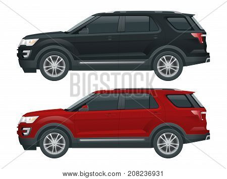 Off-road write car Modern VIP transport. Offroad truck template vector isolated car on white View side. Change the color in one click. All elements in groups