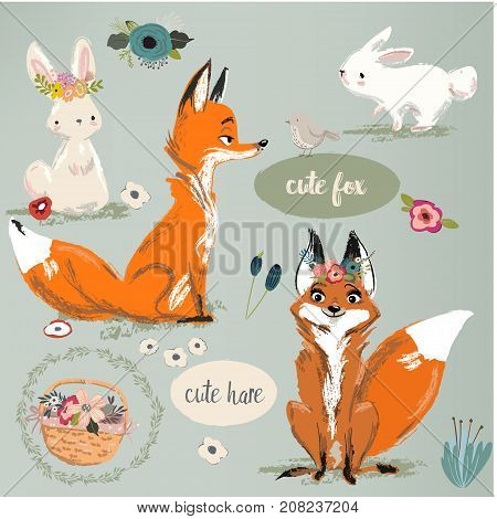 set with cute fox and hare with floral elements. vector illustration