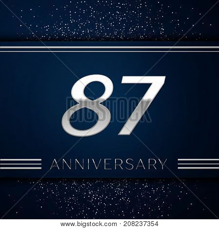 Realistic Eighty seven Years Anniversary Celebration Logotype. Silver numbers and silver confetti on blue background. Colorful Vector template elements for your birthday party