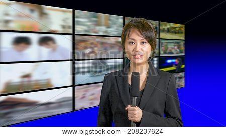 Female News Anchor In Studio