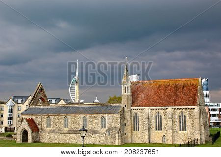 storm clouds above Royal Garrison Church, Portsmouth