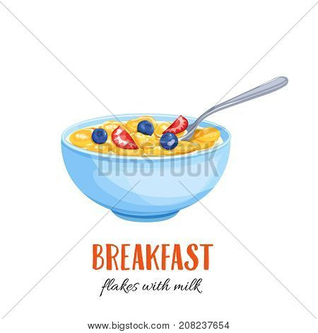 Flakes with milk and berries. Concept Breakfast. Vector illustration cereals.