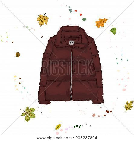 Down Jacket Burgundy Color. Outerwear On The Background Of Autumn Leaves And Drops Of Watercolor. Ha