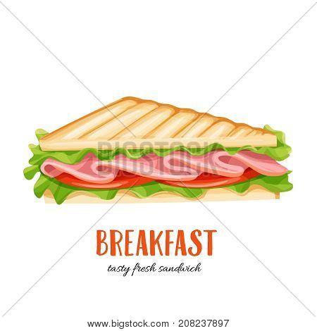 Vector sandwich wich ham. Illustration breakfast for food design.