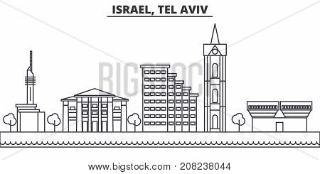 Istael, Tel Aviv architecture line skyline illustration. Linear vector cityscape with famous landmarks, city sights, design icons. Editable strokes