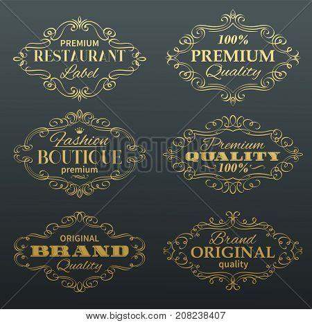 Vintage Vector Banners Labels Frames. Calligraphic Golden Design Elements . Decorative Page Decoration.