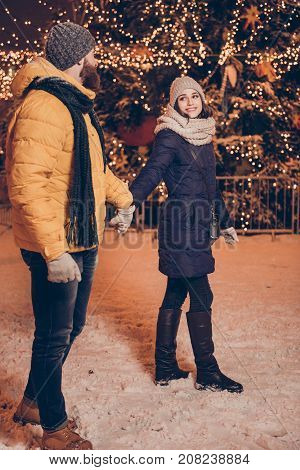 X Mas Time! Romantic Teens In Love Having A Stroll In A Park Of Attractions Outdoors At The Eve, Enj