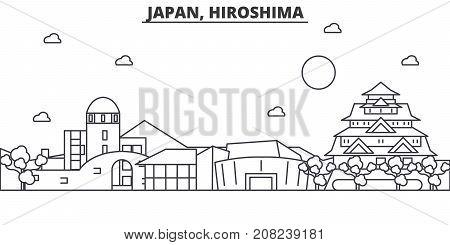 Japan, Hiroshima architecture line skyline illustration. Linear vector cityscape with famous landmarks, city sights, design icons. Editable strokes