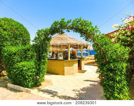 Sharm El Sheikh, Egypt - September 22, 2017: Outdoor bar and beach at the luxury hotel at Sharm el Sheikh, Egypt on September 22, 2017