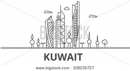 Kuwait architecture line skyline illustration. Linear vector cityscape with famous landmarks, city sights, design icons. Editable strokes