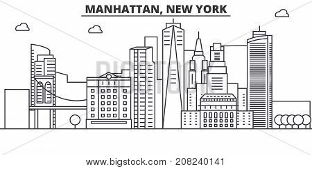 Manhattan, New York architecture line skyline illustration. Linear vector cityscape with famous landmarks, city sights, design icons. Editable strokes