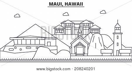 Maui, Hawaii architecture line skyline illustration. Linear vector cityscape with famous landmarks, city sights, design icons. Editable strokes