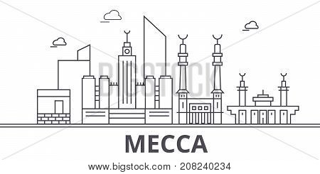 Mecca architecture line skyline illustration. Linear vector cityscape with famous landmarks, city sights, design icons. Editable strokes
