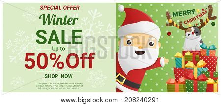 Christmas winter sale banner with Santa Claus and cat wearing reindeer costume , vector , illustration