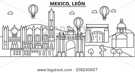 Mexico, Leon architecture line skyline illustration. Linear vector cityscape with famous landmarks, city sights, design icons. Landscape wtih editable strokes