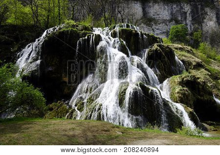 Waterfall and water basins of Baume les messieurs in France