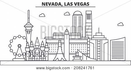 Nevada, Las Vegas architecture line skyline illustration. Linear vector cityscape with famous landmarks, city sights, design icons. Editable strokes